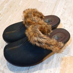 Black Suede Faux Fur Crocs